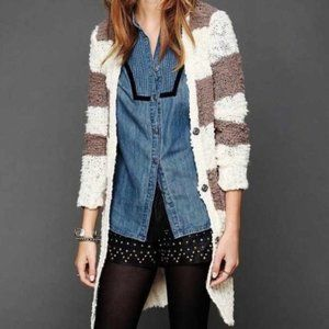 Free People Rugby Striped Chunky Duster Cardigan